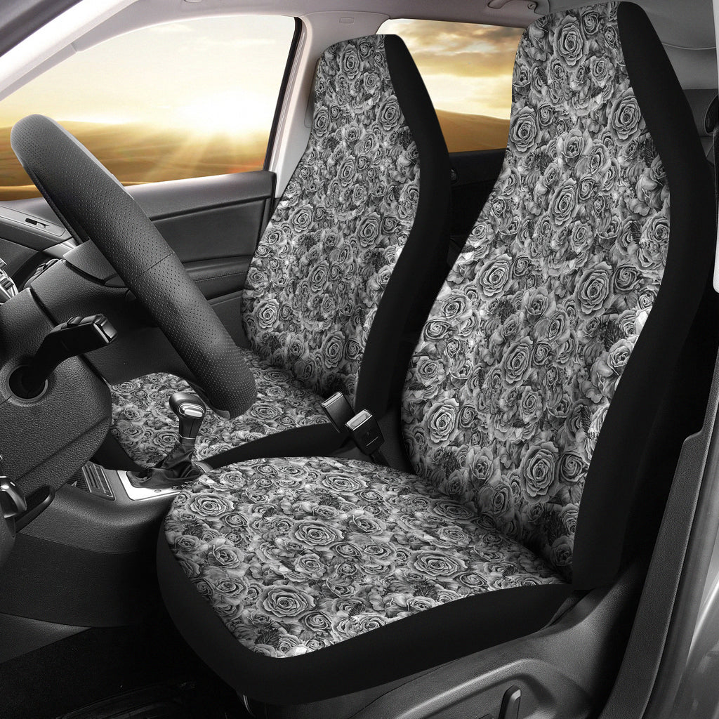 Rose Car Seat Covers Black White Roses Goth Gothic Emo Set Of 2 Front Bucket Seats SUV or Car