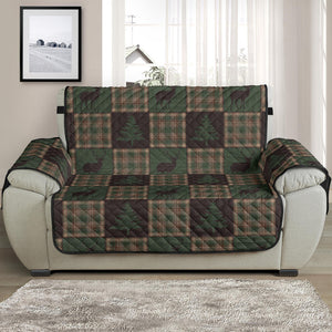 Woodland Plaid With Deer and Pine Trees Patchwork Pattern Furniture Slipcovers