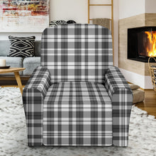Load image into Gallery viewer, Gray and White Plaid Recliner Stretch Slipcover Protector