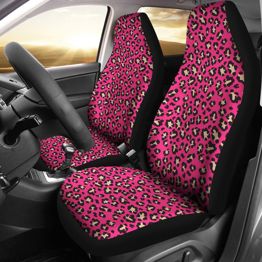 Hot Pink and Tan Leopard Print Car Seat Covers