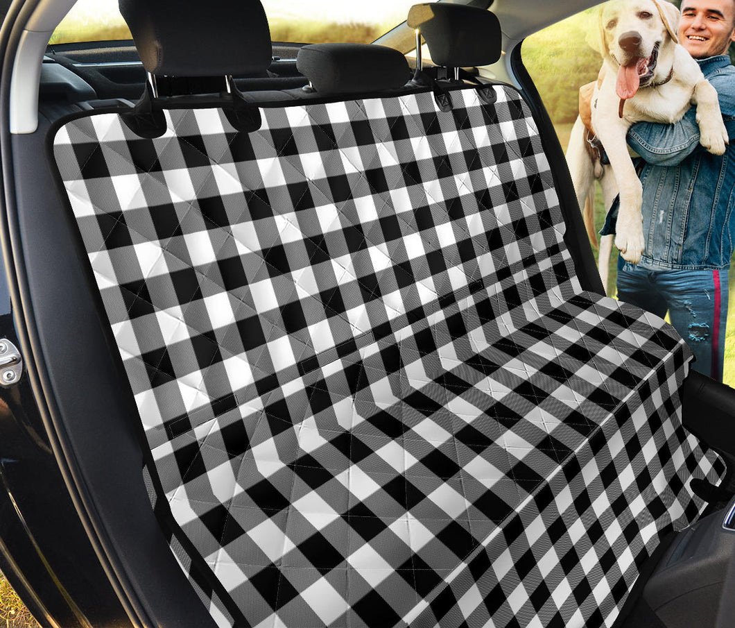 Black and White Buffalo Plaid Back Bench Seat Cover For Pets Dogs