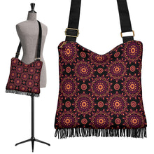 Load image into Gallery viewer, Black Magenta Mandala Pattern Boho Bag With Fringe and Shoulder Straps Crossbody Purse