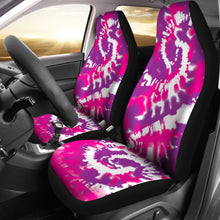 Load image into Gallery viewer, Pink Purple and White Tie Dye Abstract Car Seat Covers