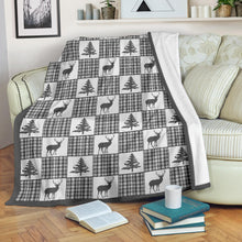 Load image into Gallery viewer, Winter Plaid Pattern Fleece Blanket Patchwork Deer and Pine Trees Pattern Dark Gray Border