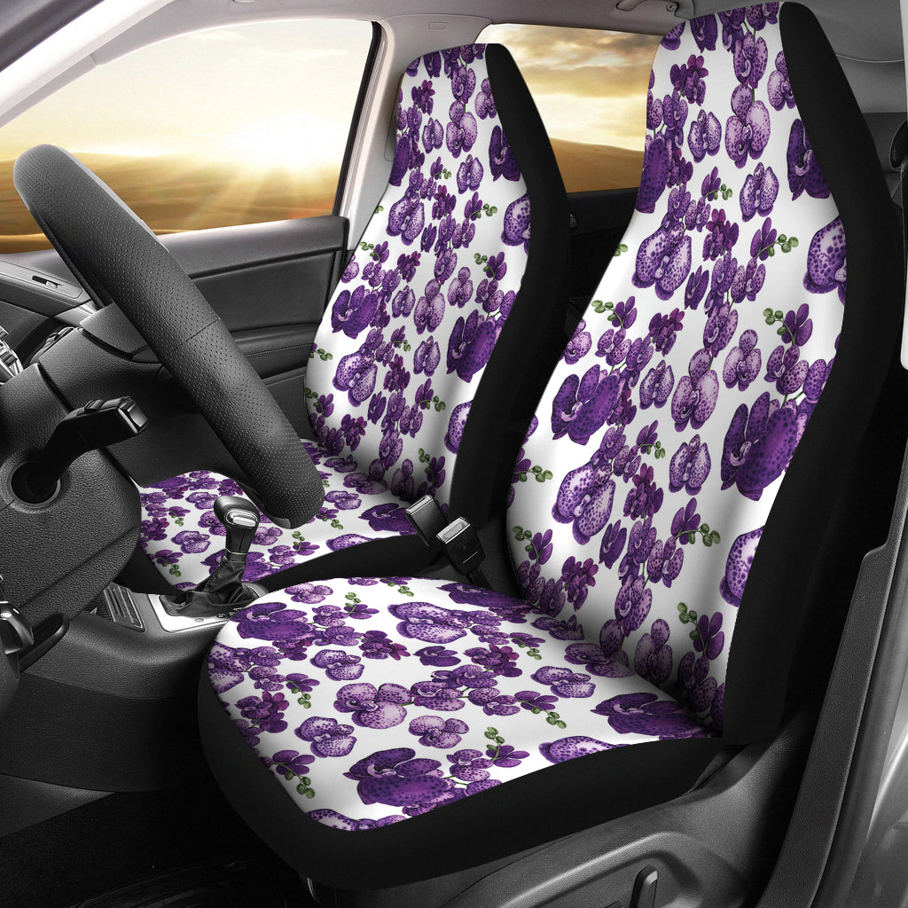 White and Purple Orchid Flower Pattern Car Seat Covers