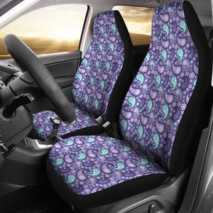 Purple and Teal Paisley Pattern Car Seat Covers