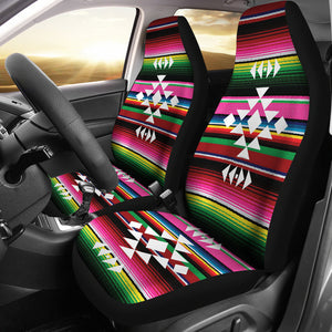 Ethnic Tribal Design on Colorful Rainbow Serape Car Seat Covers