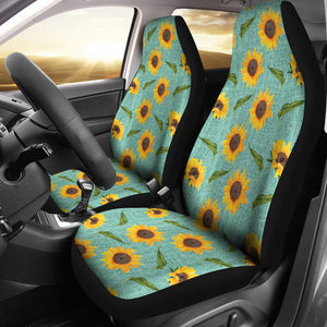 Turquoise Burlap With Sunflowers Car Seat Covers
