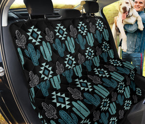 Teal Boho Cactus Pattern Back Bench Seat Cover For Pets