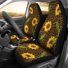 Load image into Gallery viewer, Rustic Sunflowers and Leaves on Leopard Print Car Seat Covers Seat Protectors
