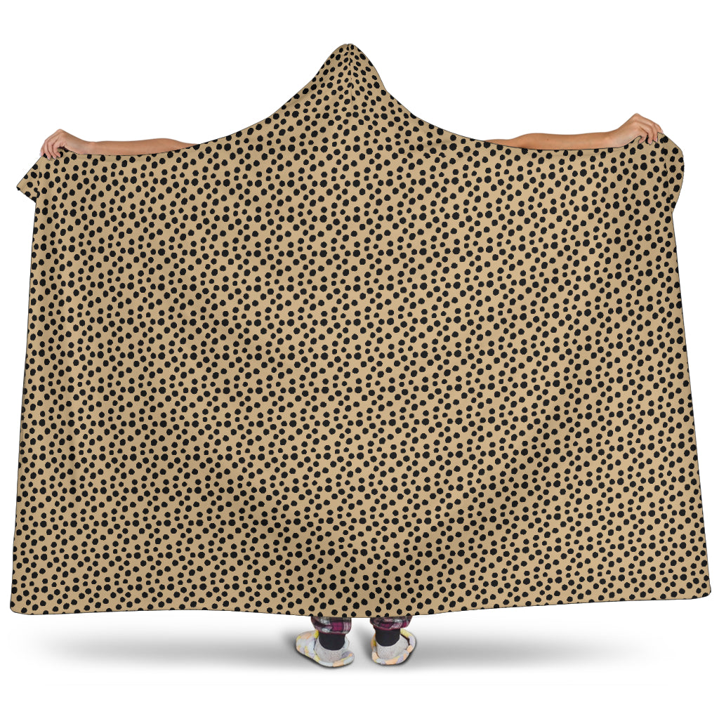 Tan Cheetah Print Hooded Blanket With Sherpa Lining Animal Pattern