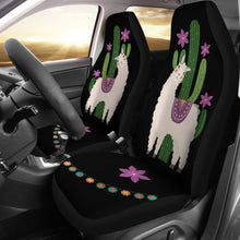 Load image into Gallery viewer, Alpaca Car Seat Covers Boho Hippie Style Cactus and Flowers Desert Motif Purple and Black
