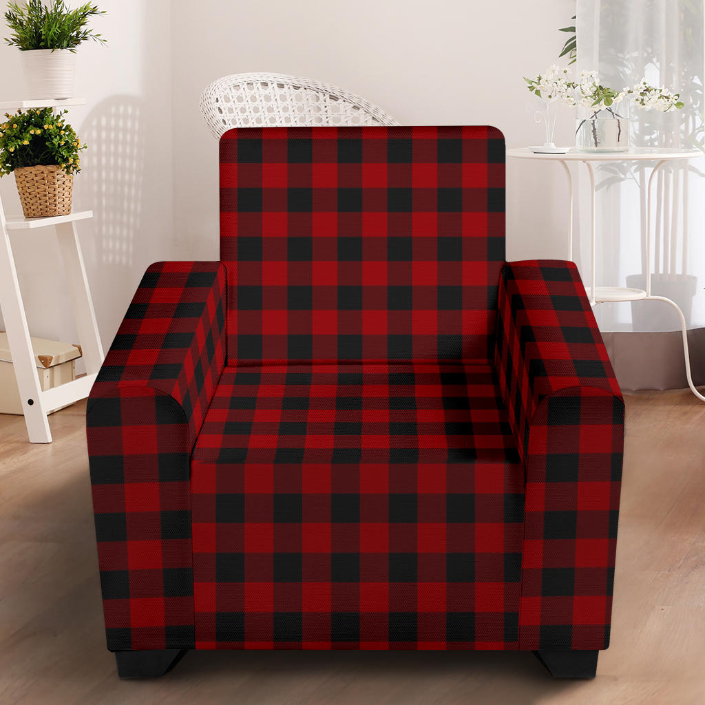 Red and Black Buffalo Plaid Stretch Armchair Slipcover For Chairs Up To 43