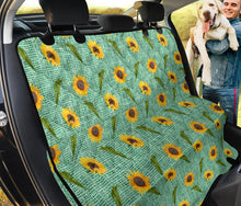Load image into Gallery viewer, Turquoise Burlap Design With Sunflower Pattern Back Seat Protectors