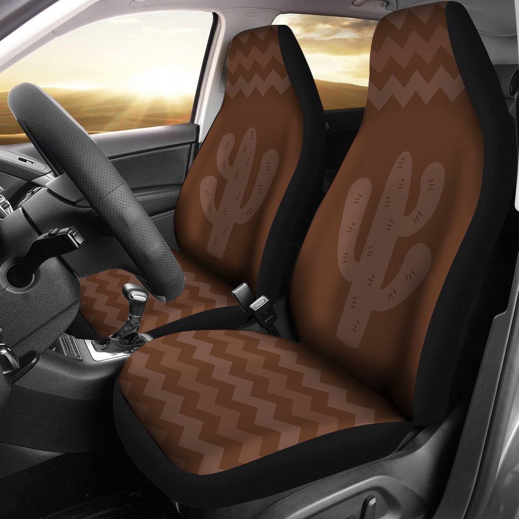 Brown Cactus Chevron Car Seat Covers Set