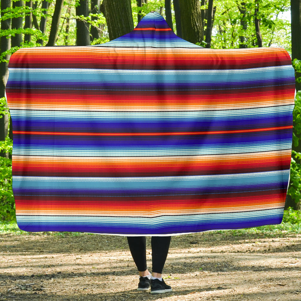 Blue and Orange Serape Style Striped Hooded Blanket With Fleece Lining