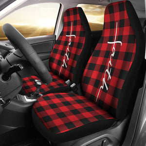 Faith Word Cross In White On Red Buffalo Plaid Car Seat Covers Religious Christian Themed