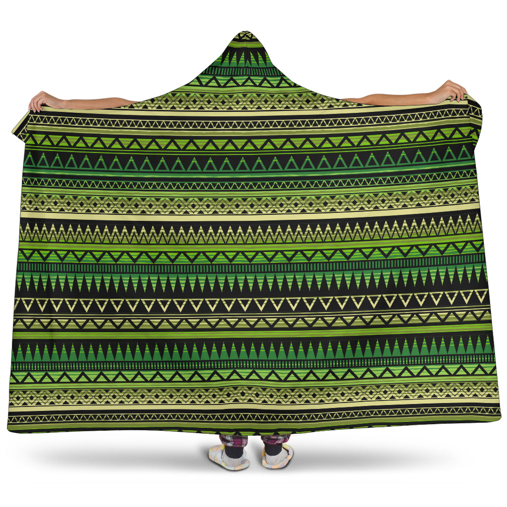 Green With Black Ethnic Tribal Pattern Hooded Blanket With Tan Sherpa Lining