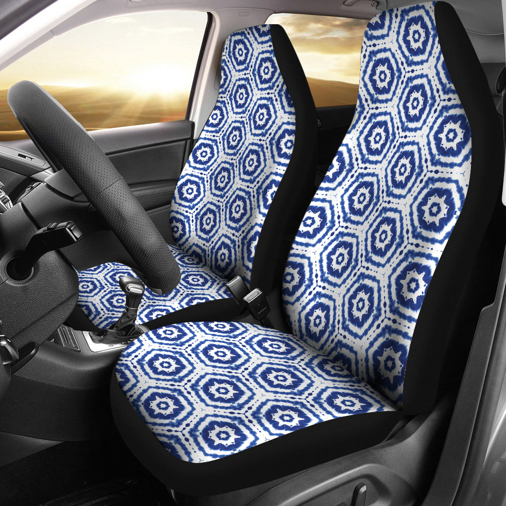 White With Blue Shibori Dye Pattern Ethnic Boho Car Seat Covers