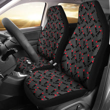 Load image into Gallery viewer, Charcoal Gray Black Polka Dots With Lipstick Tubes Car Seat Covers