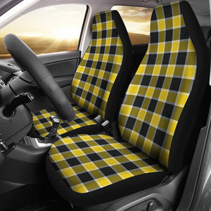Yellow Black and White Plaid Check Car Seat Covers