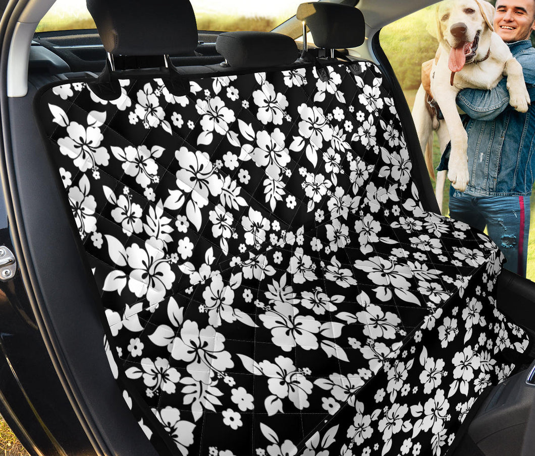 Black With White Hibiscus Hawaiian Flower Pattern Back Seat Protector Cover