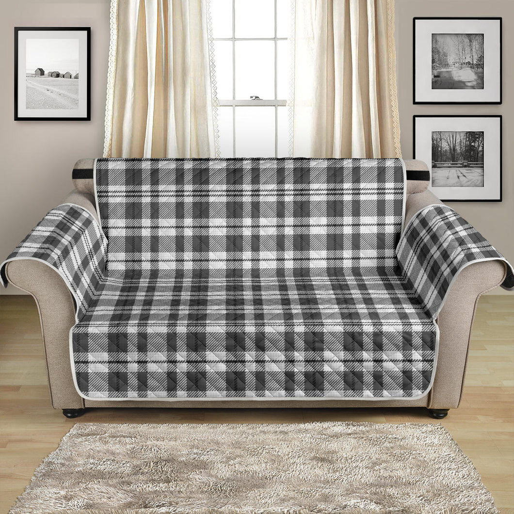 Gray and White Plaid Loveseat Sofa Protector Slipcover Fits Up To 54