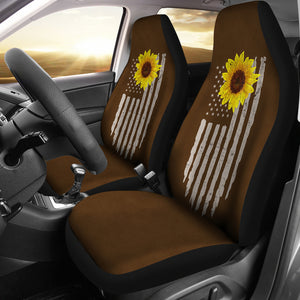 Distressed American Flag With Rustic Sunflower on Dark Brown Faux Suede Style Car Seat Covers