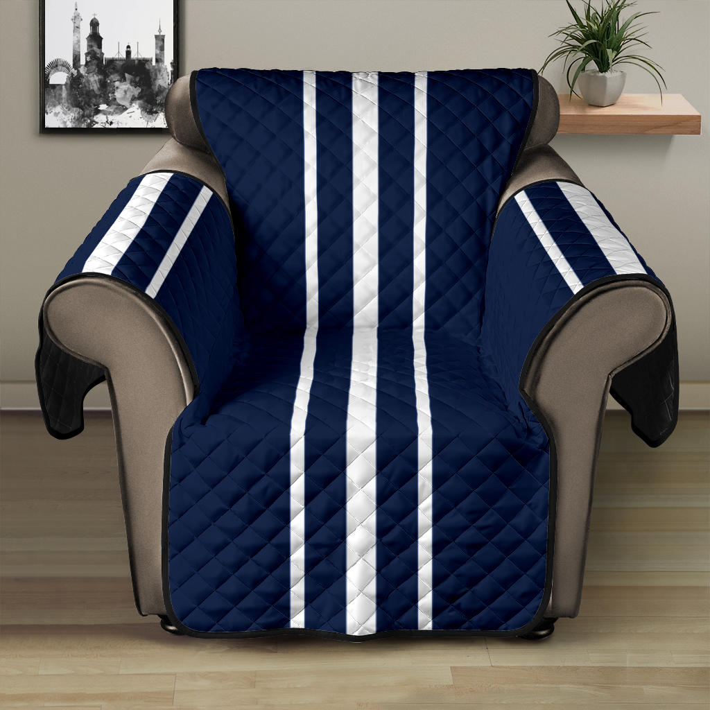 Navy Blue With White Stripes Recliner Protector Slipcover For Up To 28