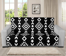 "Load image into Gallery viewer, Black and White Ethnic Tribal Pattern 70"" Futon Sofa Protector Couch Slipcover Sofabed"