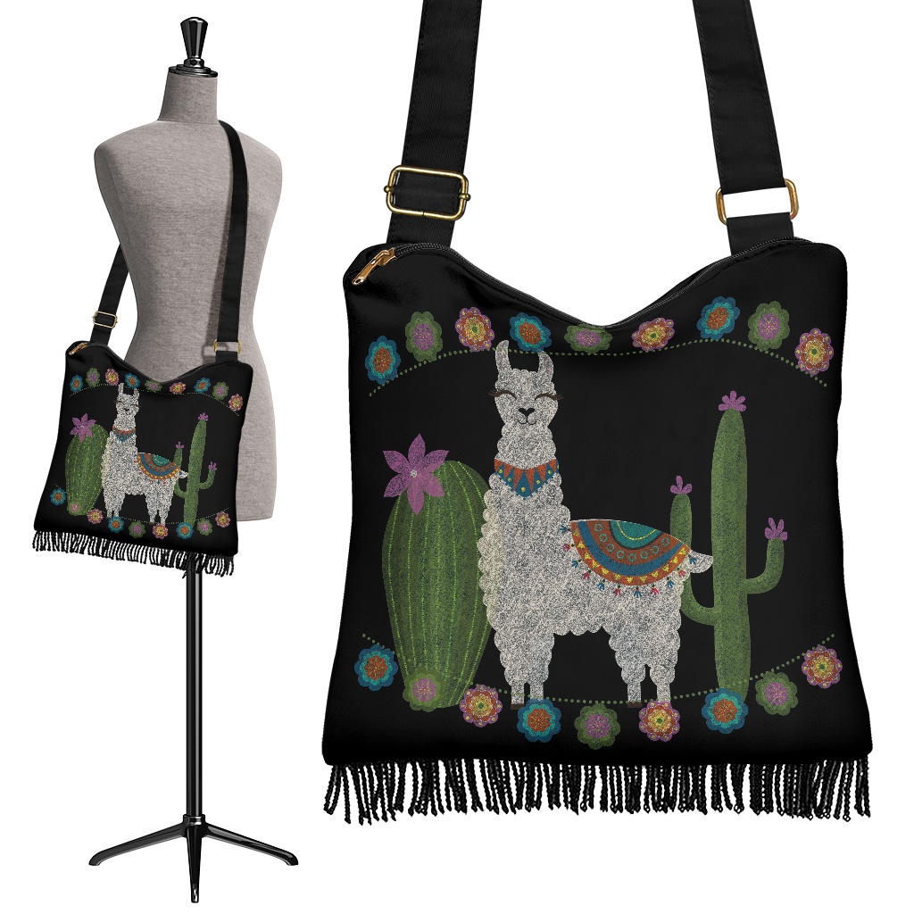 Black With Chalky Style Llama Design Cactus Flowers