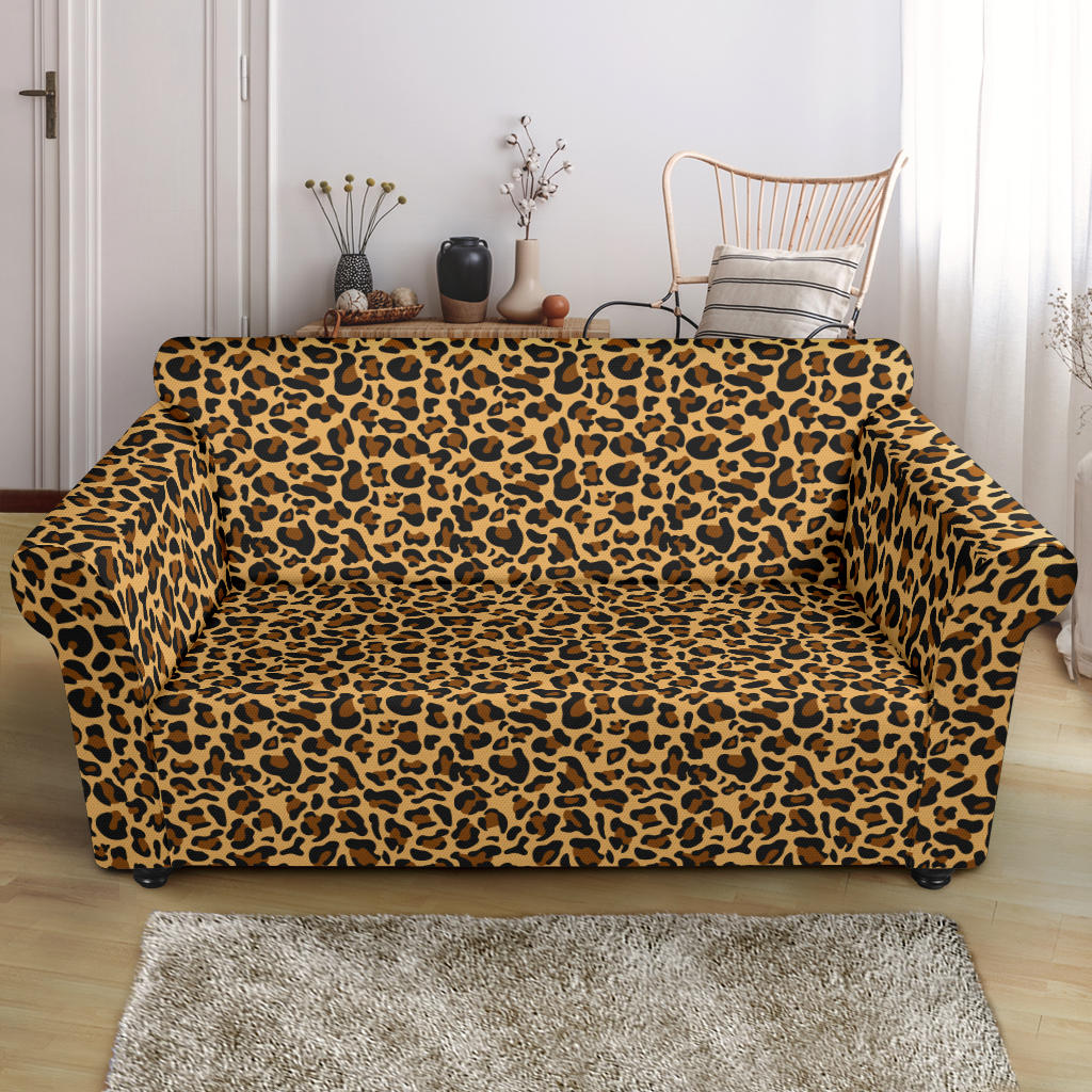 Loveseat Leopard Print Stretch Slip Cover Fits Up To 68