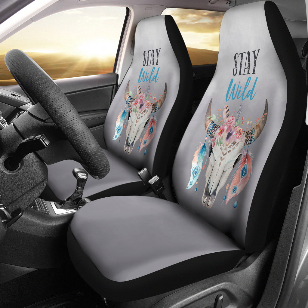 Smoke Ombre Boho Skull Stay Wild Seat Covers