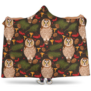 Owl Christmas Hooded Sherpa Lined Blanket
