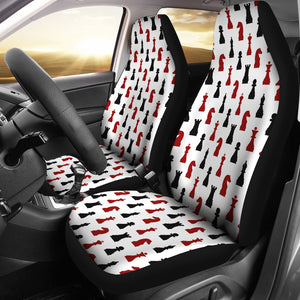 White With Red and Black Chess Pieces Pattern Car Seat Covers