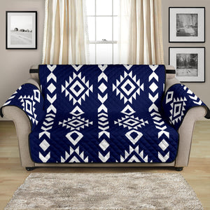 "Navy Blue and White Ethnic Tribal 54"" Loveseat Sofa Protector Furniture Slipcover"