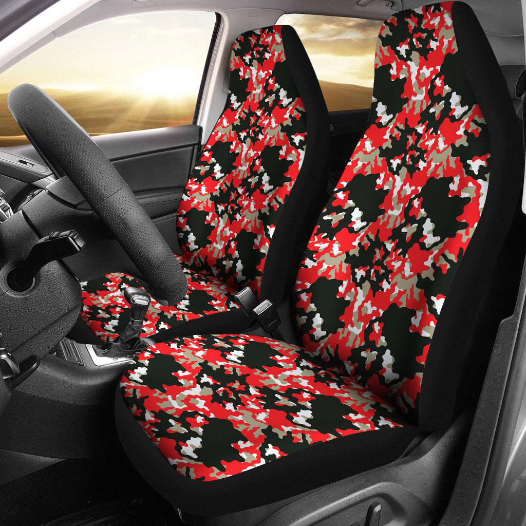 Black Red and Gray Skull Camouflage Camo Car Seat Covers