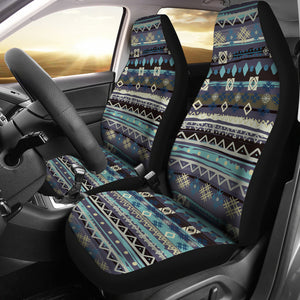 Blue Boho Pattern Abstract Car Seat Covers