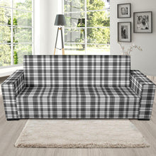 Load image into Gallery viewer, Gray and White Plaid Pattern Stretch Sofa Slipcover Protector