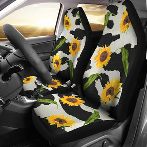 Black and White Cow Print With Rustic Sunflowers Car Seat Covers Seat Protectors
