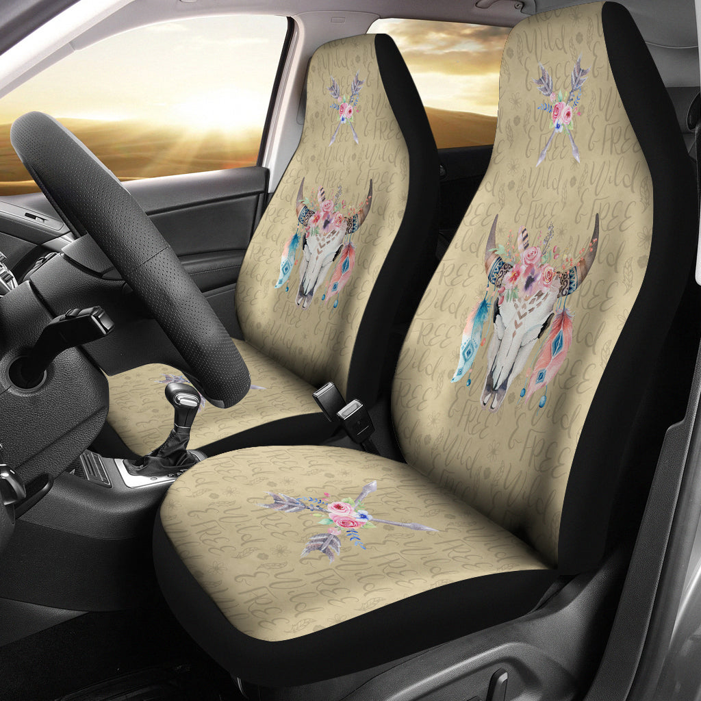 Wild and Free Dark Tan Boho Cow Skull Car Seat Covers