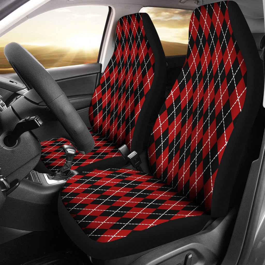 Red and Black Large Argyle Print Car Seat Covers