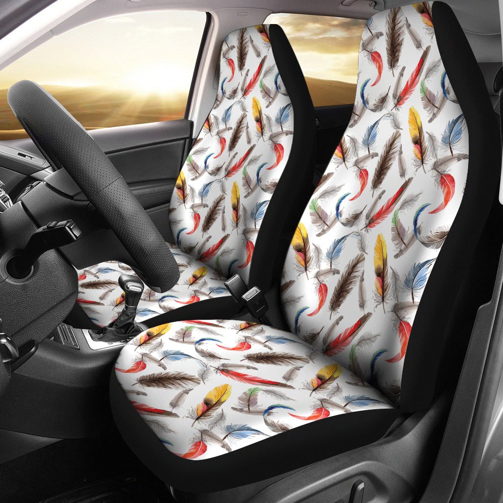 White With Watercolor Feathers Boho Car Seat Covers