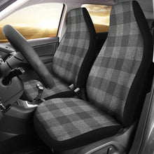 Load image into Gallery viewer, Gray Faux Denim Buffalo Plaid Car Seat Covers Seat Protectors