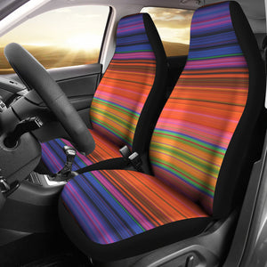 Colorful Serape Style Car Seat Covers Purple, Pink, Orange, Green and Yellow