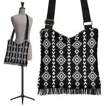 Load image into Gallery viewer, Black and White Ethnic Tribal Pattern on Crossbody Boho Bag With Fringe Bottom