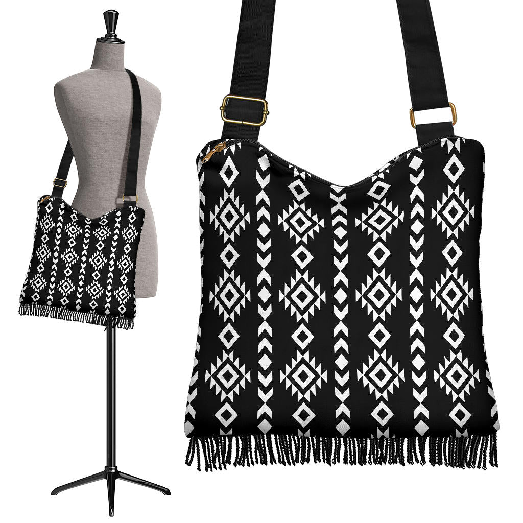 Black and White Ethnic Tribal Pattern on Crossbody Boho Bag With Fringe Bottom