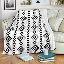 Load image into Gallery viewer, White With Black Ethnic Tribal Pattern Fleece Throw Blanket