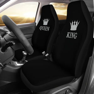 King and Queen Car Seat Covers Black and Silver Set of 2