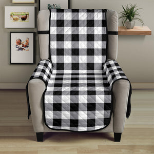 "Buffalo Check Armchair Slipcover Protectors In Black, White and Gray For 23"" Seat Width Chairs"